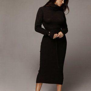 JLUXLABEL BLACK AUBREY TURTLENECK SWEATER DRESS